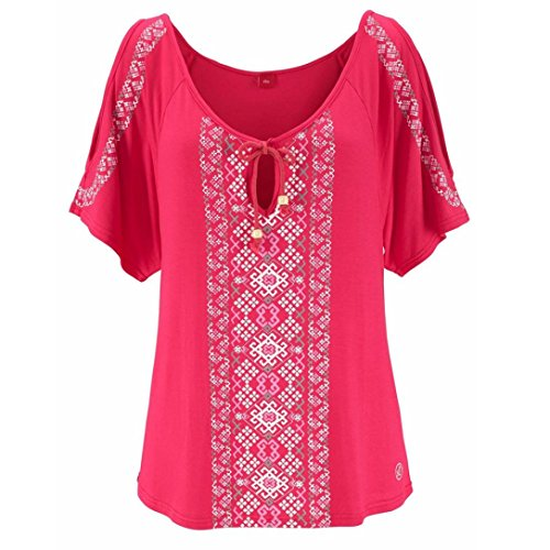 CUCUHAM Women Summer Print Short Sleeve Shirt Tops Blouse T-Shirt (M, Hot Pink)