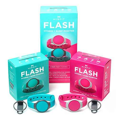 Misfit Flash 2 Pack Reef and Fuchsia L1 Activity Tracker Fitness Band by Misfit
