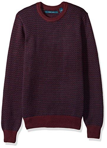 Perry Ellis Men's Herringbone Crew Neck Sweater, Port, Small