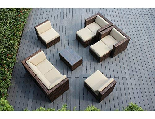 Ohana 9-Piece Outdoor Patio Furniture Sectional Conversation Set, Mixed Brown Wicker with Beige Cushions - No Assembly with Free Patio Cover