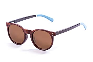 Ocean Sunglasses Lizard Lunettes de Soleil Mixte Adulte, Bamboo Brown Frame/Wood Dark White/Blue Arms/Brown Lens