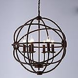 Cheap Industrial Splendid Vintage Retro Pendant Light – LITFAD 20″ Edison Metal Globe Shade Hanging Ceiling Cage Chandelier Pendant Lamp Fixture Rust Finish with 6 Lights