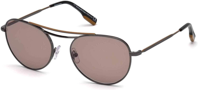 78af498d996 Amazon.com  Ermenegildo Zegna EZ0103 Ruthenium Brown 54 19 145 Men  Sunglasses  Clothing