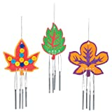Leaf Wooden Windchimes for Children to Design Make and Display - Creative Autumn Craft Set for Kids (Pack of 4)