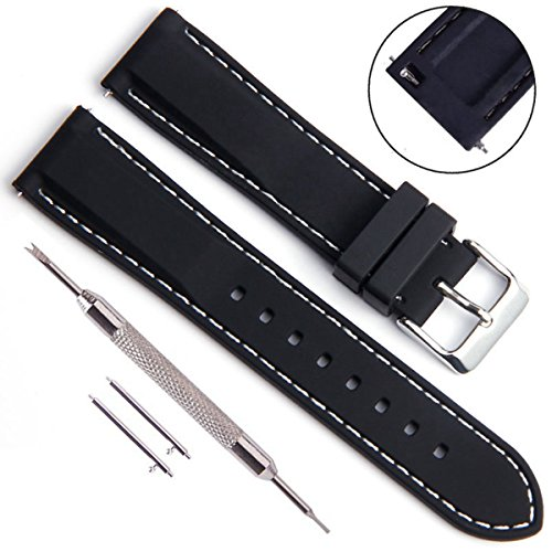 Quick Release Silicone Replacement Watch Band Soft Rubber Watch Straps with Stainless Metal Clasp Choice of Color & Width(18mm 20mm 22mm 24mm) (20mm, White Stitch/Black)