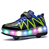 Blue yue Unisex Kids LED Flashing Roller Skate Shoes Single Double Wheels Retractable Technical Skateboarding Outdoor Gymnastics Sneakers
