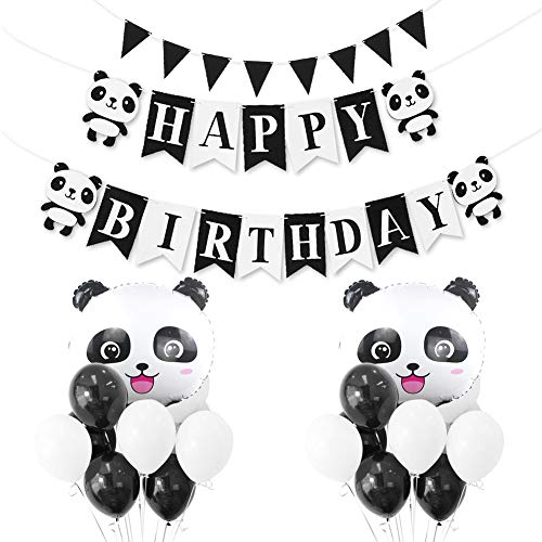 Birthday Party Decorations Supplies,Panda Themes HAPPY BIRTHDAY Banner and Aluminum Foil Balloons,Latex Balloons for Children Birthday Party Kids Nursery Bedroom Decor