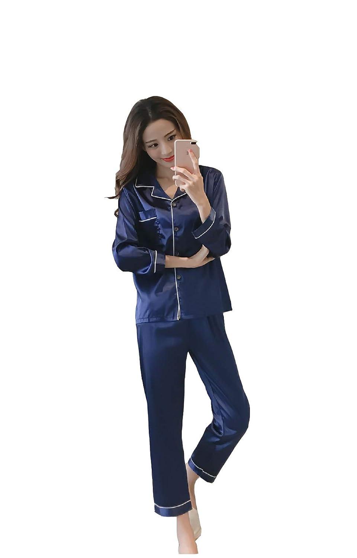 Satin Pyjamas Womens Silk Satin Pajamas Set Sleepwear Loungewear Long Sleeve Nightwear Plus/_Gifts