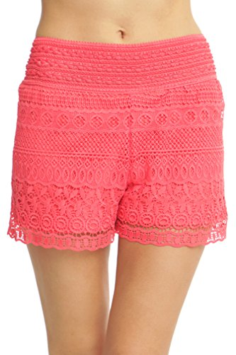ToBeInStyle Women's Cross-Over Lace Shorts - Coral - Small