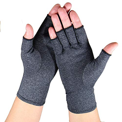 Arthritis Gloves - Relief Finger Joint Pain, Compression Gloves for Arthritis in Hands - Arthritic Fingerless Gloves (M, Grey)