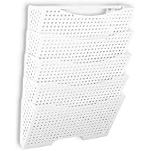 Wall Mount File Organizer by Fasthomegoods - Sturdy Modular Design with 5 Storage Folders - The Easy Way to Sort and Organize all Your Papers , White