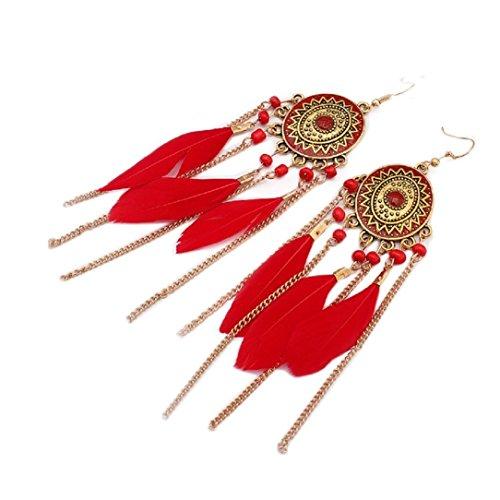 YABINA Womens Teens Girls Bohemian Natural Feather Earrings (Red)