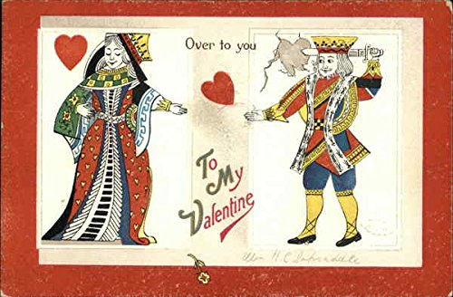 Over to You - King and Gueen of Hearts Joining Hands Other Valentines Original Vintage Postcard from CardCow Vintage Postcards