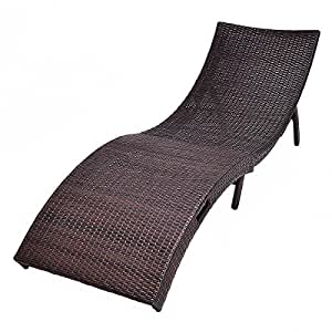 Adumly Mix Brown Folding Patio Rattan Chaise Lounge Chair Outdoor Furniture Pool Side