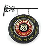 Vintage parts USA 1229991 tire route 66 sign Route 66 Double Sided Light Up Hanging Tire Metal Sign Man Cave Garage art