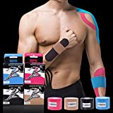 Elastic Kinesiology Therapeutic Tape for Athletes, CrossFit and Weight Lifting Sports, Knee Shoulder Ankle Muscles Care Recovery Bandage (Pink)