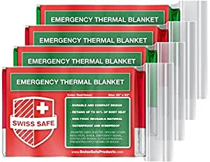 Emergency Mylar Thermal Blankets (4-Pack) + BONUS Signature Gold Foil Space Blanket: Designed for NASA – Perfect for Outdoors, Hiking, Survival, Marathons or First Aid