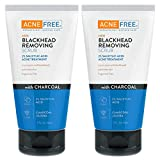 AcneFree Blackhead Exfoliating Face Scrub With 2% Salicylic Acid And Charcoal Jojoba, Pack of 2, 5 Fluid Ounce Each
