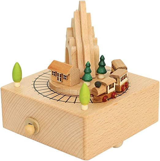 AIJOAN-BJ Estatua Animal Estatuas Roller Train Spinning Wood Caja ...