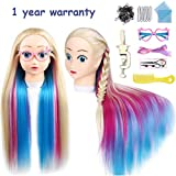 25' Professional Cartoon Colorful Training Heads with Long Thick Hairs Practice Hairdressing Mannequin Dolls Styling with Clamp Holder and Tools