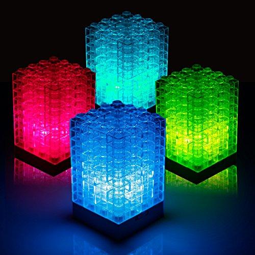 Veesee Building Blocks Night Light,Led Mini Table Desk Lamps,DIY Small Beside Bed Lamps for Nightstand,Mood Lighting,Creative Nightlights Birthday Gift for Son Kids Teen Boys Men Room Bedroom Decor