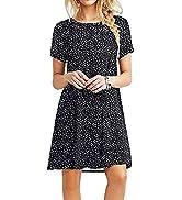 XCHQRTI Womens T-Shirt Dresses Short Sleeve Summer Casual Simple Boho Tunic Swing Dress