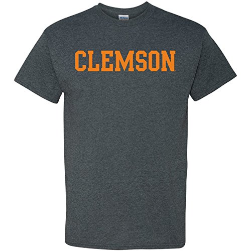 (Clemson Tigers Block Basic T-Shirt - 2X-Large - Dark Heather)