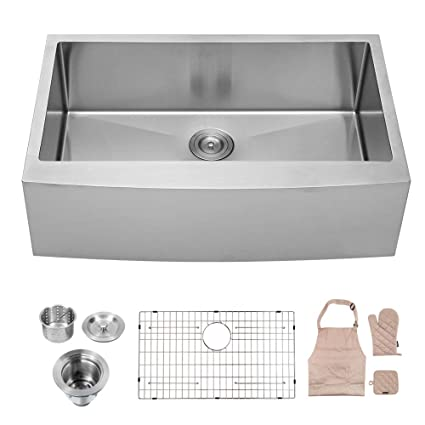 Lordear Slj16003 Commercial 33 Inch 16 Gauge 10 Inch Deep Drop In Stainless Steel Undermout Single Bowl Farmhouse Apron Front Kitchen Sink Brushed