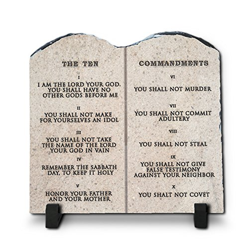 Ten Commandments Plaque (The Ten Commandments | Superior Religious Inspirational Home Décor By InspiraGifts Christmas Gift| Christian Home Plaque Stone Gift (WEB, 7.8