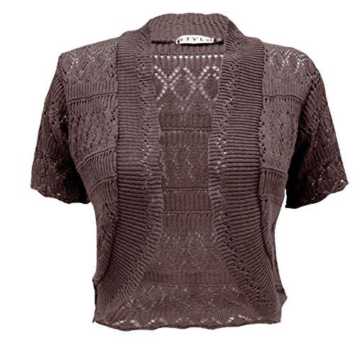 Donna Top Cardigan Corte Vendor Dark Brown Maniche xrBrItq5w