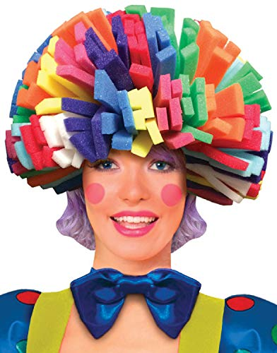 Mens Ladies Foam Rainbow Afro Clown Circus Carnival Halloween Fun Comedy Fancy Dress Costume Hat