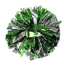 2 PCS Metallic Foil & Plastic Ring Pom Poms Cheerleading SILVER+GREEN