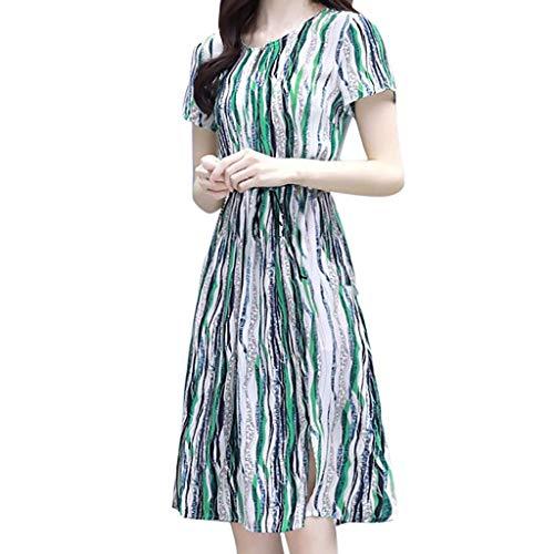 Fastbot Women's Casual Short Sleeve T Shirt Dresses Fashion Dress Stripe Printing O-Neck Knee Length Dress Green