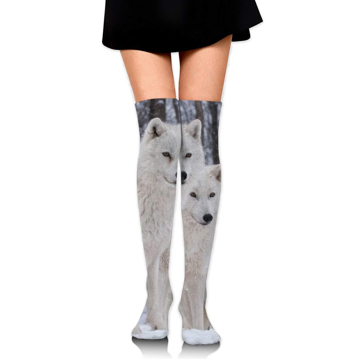 Women Crew Socks Thigh High Knee White Wolf Long Tube Dress Legging Soccer Compression Stocking