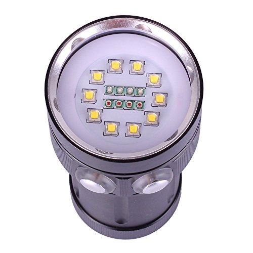 h-sang 12000lúmenes buceo luz fotografía submarina LED Linterna de buceo profesional con 10x XM-L2+ 4x R + 4x B