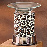 StealStreet SS-A-59697 Electric Oil Burner with Fabric Nature Cheetah Animal Print and Saucer