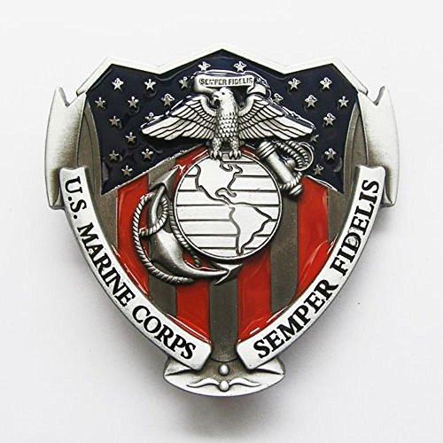 U.S. Marine Corps Semper Fi Military Colors Metal Belt Buckle