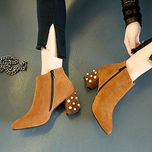 Stiefel damen Kolylong® Frauen Elegant Stiefeletten mit absatz Vintage Plateau Stiefel Kurz Warm Martin Stiefel Schuhe High Heel Ankle Boots Mädchen Freizeit Schuhe Braun