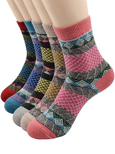 Century Star Womens Thick Warm Blend Merino Wool Winter Soft Outdoor Socks 5 Pack Grid (Dance Costume Company Catalogs)