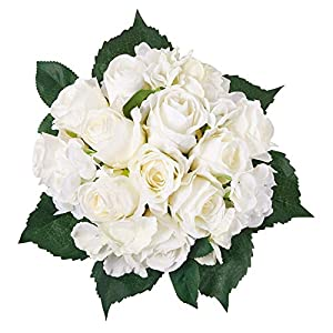 Artificial Flowers 6 White Roses and Hydrangea Silk Flowers Bouquet Real Looking Babys Breath Fake Flowers Wedding Bouquets Centerpieces Arrangements Party Home Decorations 1