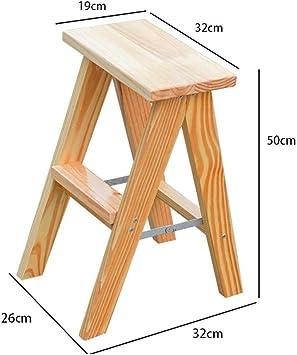 LADDER Taburete Plegable Multifuncional, Taburete Plegable Casero Escalera de Madera de 2 Niveles Escalera Plegable de Castaño Oscuro Taburetes Escalera Escalera de Espiga de Madera Maciza Taburete d: Amazon.es: Bricolaje y herramientas