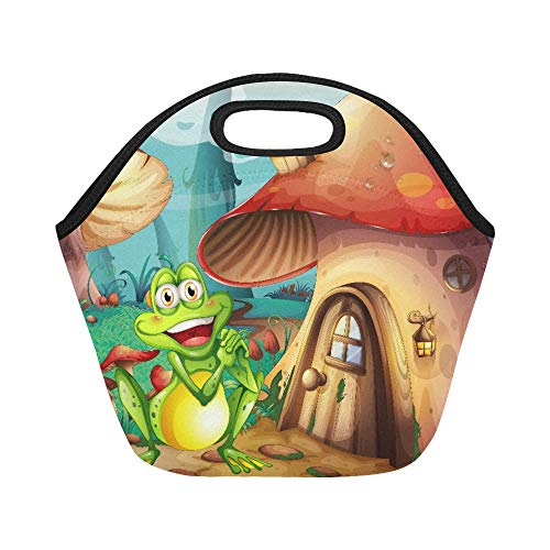Insulated Neoprene Lunch Bag Illustration Of A Frog Near The Mushroom House Large Size Reusable Thermal Thick Lunch Tote Bags For Lunch Boxes For Outdoors,work, Office, -