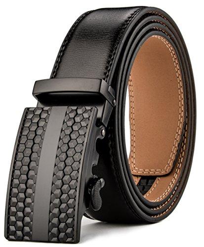 HW Zone Men's Ratchet Leather Belt Sliding Buckle 35mm (wasit:26-42, black)