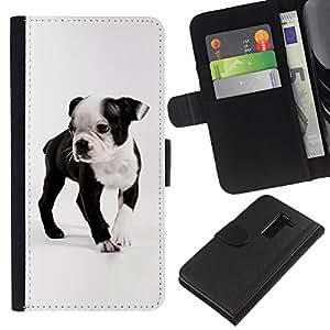 Boston Bull Terrier French Bulldog Dog - la tarjeta de Crédito Slots PU Funda de cuero Monedero caso cubierta de piel LG G2 D800