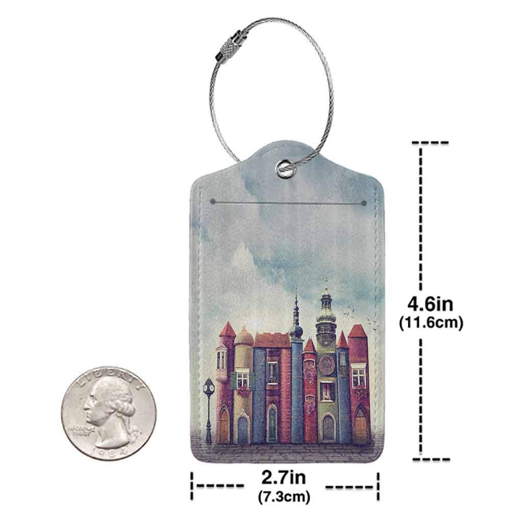 Soft luggage tag Fantasy House Decor City With Old Books Style Buildings Birds Cloudy Sky Literature Magic Fun Cityscape Bendable Multi W2.7 x L4.6