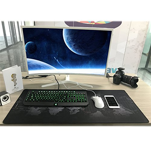 BIFY World Map Extended Gaming Mouse Pad Large Size 900x400mm Office Desk Pad Mat with Stitched Edges for PC Laptop Computer - World Map Photo #5