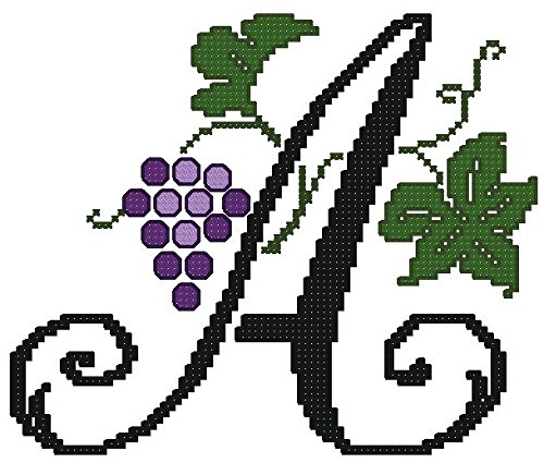 ThreaDelight ABC Embroidery Designs Set - Grapes Large Alphabet Cross-Stitch Machine Embroidery Designs - Uppercase Letters - 5