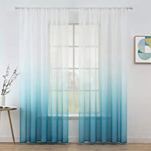 MIULEE Ombre Sheer Curtains Semi Transparent Window Treatments Voile Drapes Rod Pocket for Bedroom Living Room Office Home Decor Linen Textured Set of 2 Curtain Panels 54 x 90 inch White & Blue