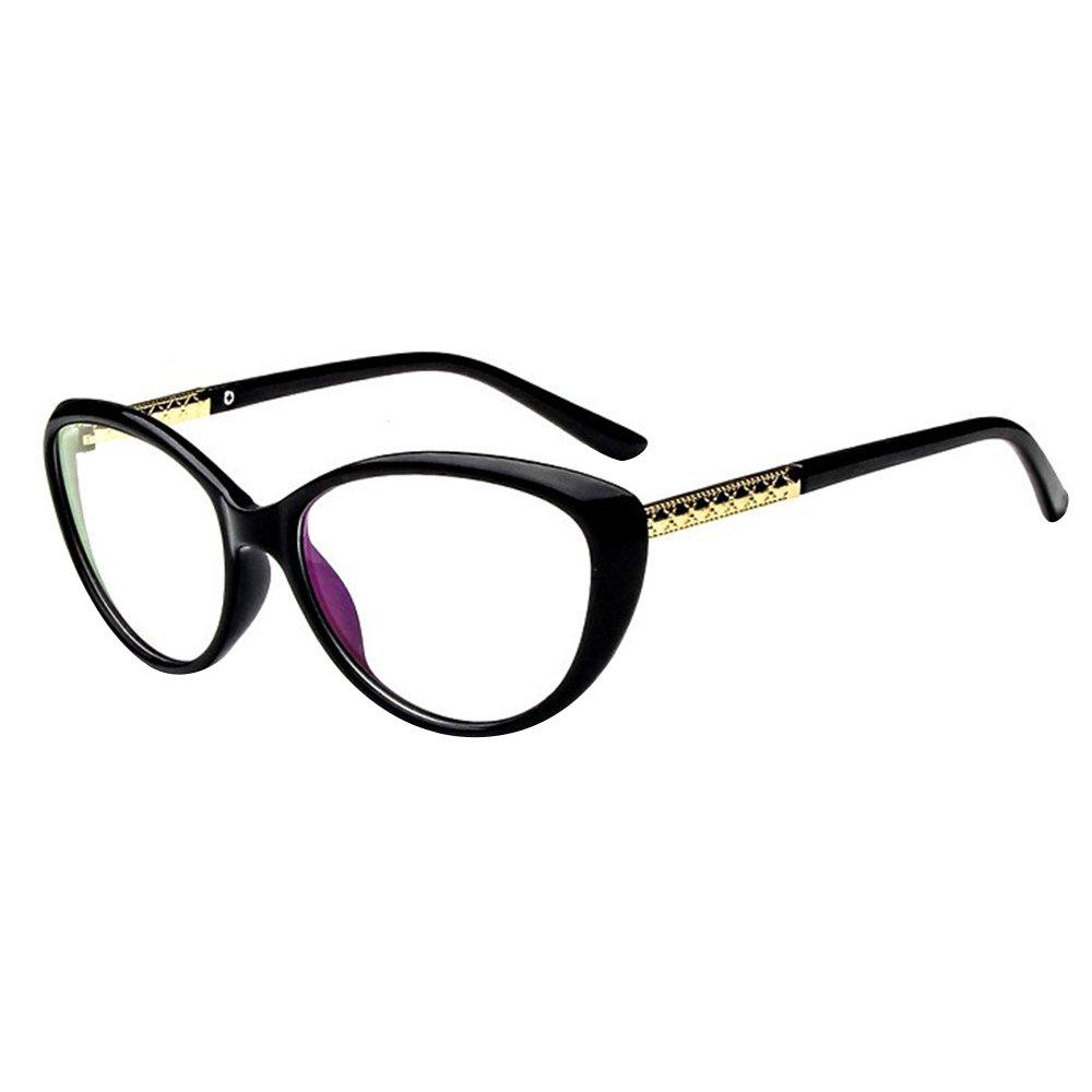 Forepin reg; Unisex Women Glasses Fashion Clear Lens Men Frame Eyeglasses 0 Strength - Bright Black Forepinqj00271
