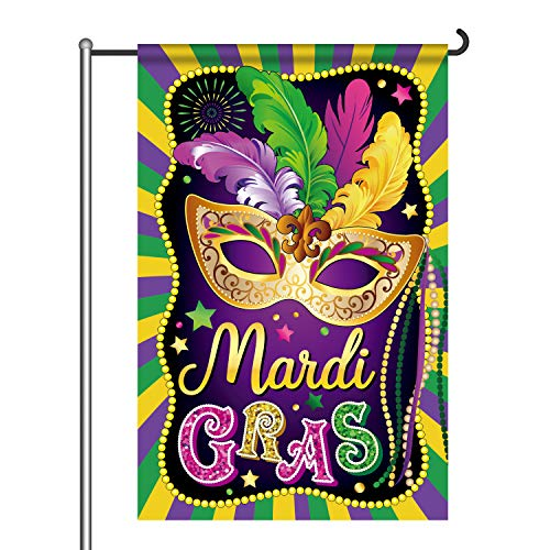 Mardi Gras Garden Flag New Orleans Party Decorations Mardi Gras Hanging Garland for Home Masquerade Party Outdoor Indoor Decor Double Sided from party greeting